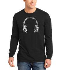 men's music note headphones word art long sleeve t-shirt