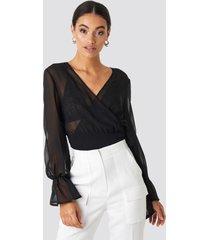 na-kd party balloon sleeve chiffon blouse - black