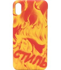 heron preston flame print iphone xs max case - orange