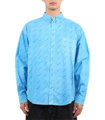 balenciaga light blue logo shirt