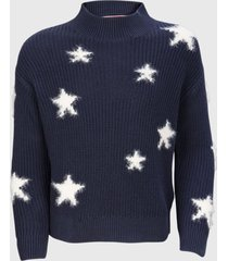 sweater cuello perkins estrellas azul tommy hilfiger