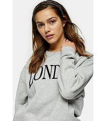 petite gray marl london sweatshirt - grey marl