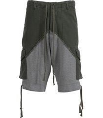 baker fleece cargo shorts, army green and grey