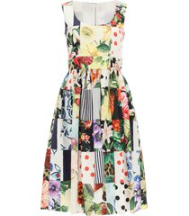 dolce & gabbana patchwork midi dress in poplin