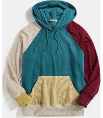 charmkpr sudadera informal con bolsillo de canguro y patchwork en bloques de color para hombre
