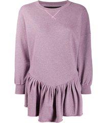marc jacobs longline peplum sweatshirt - purple