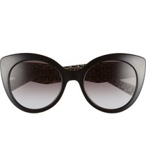 women's salvatore ferragamo classic 54mm gradient cat eye sunglasses - black/ grey gradient