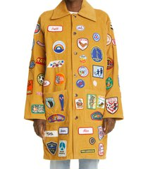 women's bode one of a kind multi patch corduroy coat, size medium/large - yellow (nordstrom exclusive)