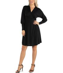 24seven comfort apparel women's long sleeve v-neck cocktail dress