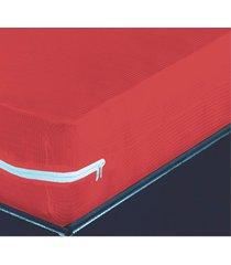 capa para colchao casal malha canelada vermelha - multicolorido - dafiti