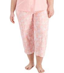 charter club plus size printed cotton capri pajama pants, created for macy's