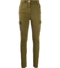 balmain panelled skinny cargo trousers - green