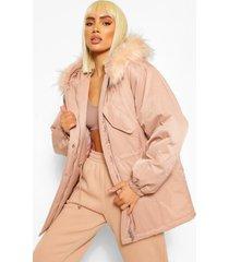 monochrome luxe parka jas met faux fur zoom, pink