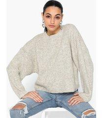 topshop oatmeal knitted crew neck jumper stickade tröjor