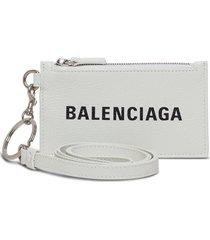 balenciaga white leather card holder with logo print