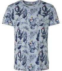 t-shirt, s/s, r-neck, allover print lt blue
