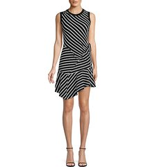 calvin striped patchwork-a-line dress