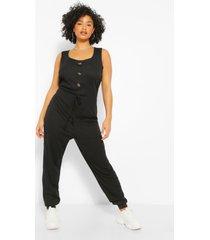 plus geribbelde jumpsuit met knopen, zwart
