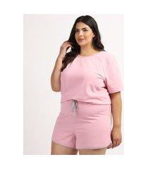 pijama feminino plus size blusa manga curta decote redondo rosa