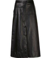3.1 phillip lim leather high-waisted midi skirt - black