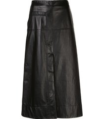 3.1 phillip lim leather high-waisted midi skirt - black