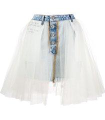unravel project tulle overlay denim skirt - blue