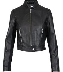 michael kors leather bomber leather jacket