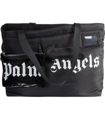 palm angels horizontal logo shopper bag