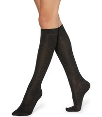 calzedonia - patterned knee-high socks, one size, black, women