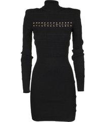 balmain black viscose dress