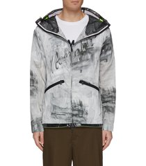 'chardin' mesh panel abstract print patchwork hooded jacket