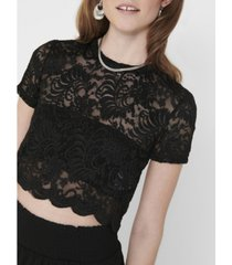 only alba lace short sleeve crop top
