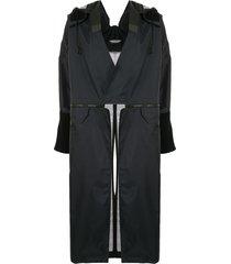 undercover convertible longline coat - black