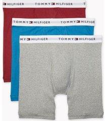 tommy hilfiger men's cotton classics boxer brief 3pk dark red/light blue/light grey - l
