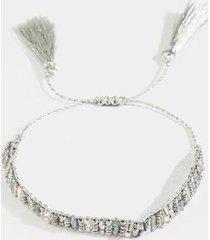 kimberly beaded tassel bracelet - silver