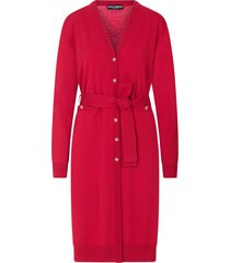 dolce & gabbana long belted wool cardigan - red