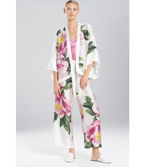 clair de lune kimono jacket, women's, white, 100% silk, size l, josie natori