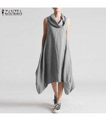 zanzea de las nuevas mujeres holgados floja ocasional maxi largo del vestido del boho sin mangas vestidos de kaftan -gris
