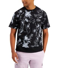 inc international concepts men's oversized-fit floral-print french terry sweatshirt, created for macy's