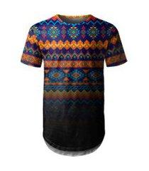 camiseta masculina longline étnica tribal degradê md02