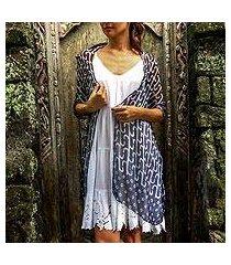 silk chiffon shawl, 'cloudy blue' (indonesia)