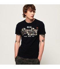 camiseta para hombre vintage logo camo mid tee superdry