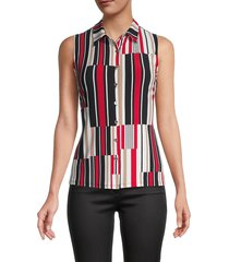 tommy hilfiger women's abstract stripe sleeveless top - ivory red multicolor - size s