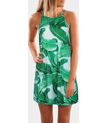 green random leaf print sleeveless mini dress