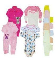 kit 11 pçs enxoval maternidade roupa de bebê menina e menino rosa
