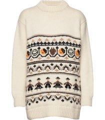 hand knit wool gebreide trui crème ganni