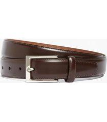 cinturón silver buckle leather café brooks brothers