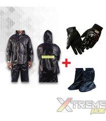 impermeable + zapatones +guantes pro biker