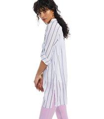 alfani striped button-down tunic top, created for macy's