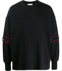 alexander mcqueen contrast piped panelled sweatshirt - black